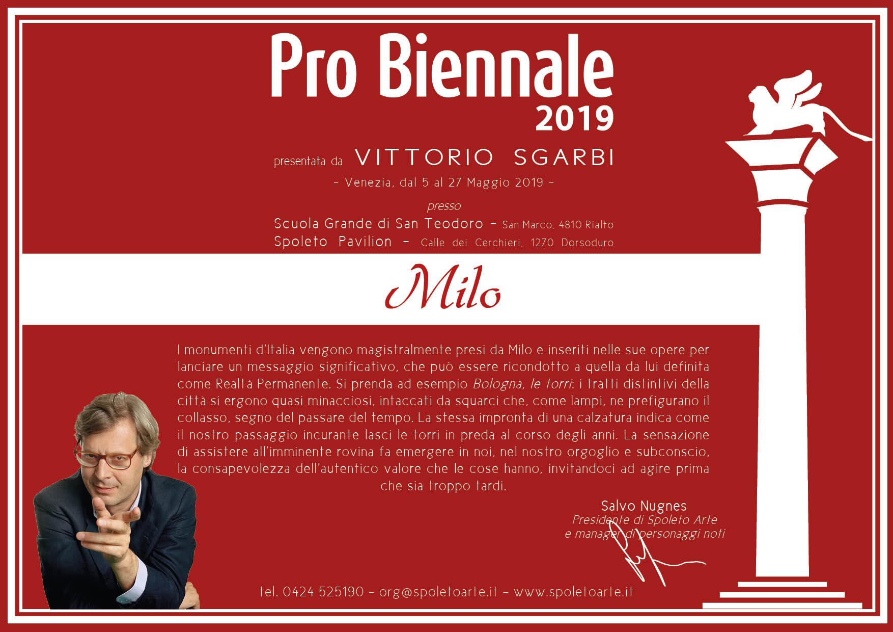 Milo Partecipa Alla Mostra Pro Biennale 2019